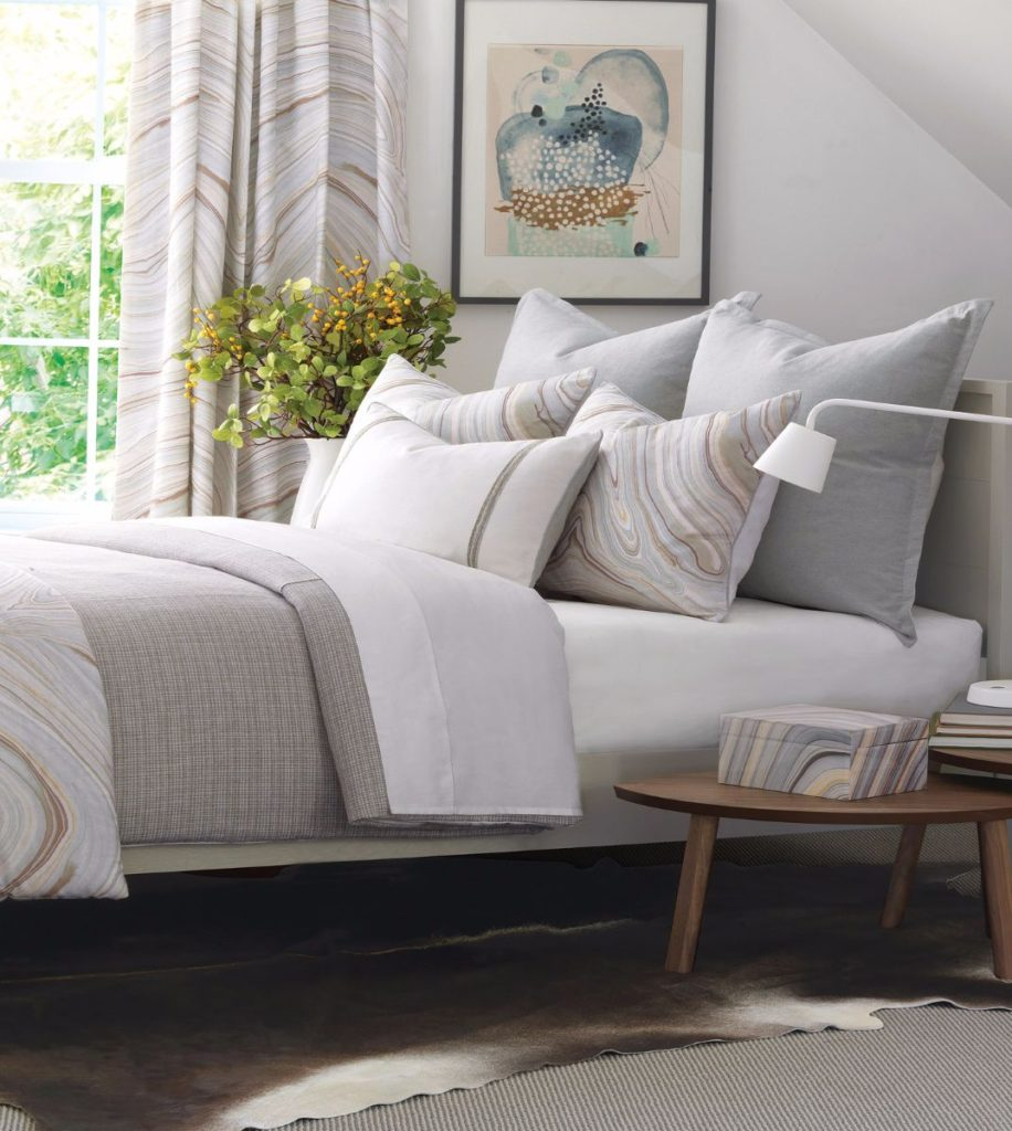 luxurious mid-century fabrics used for custom bedding 3